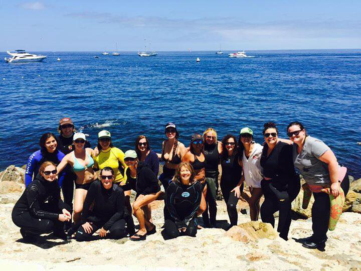 Miss Scuba celebrates PADI Women's Dive Day on Catalina Island doing things female divers love: Scuba, Yoga and a Chocolate Circle